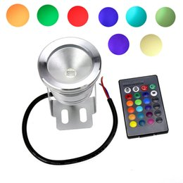 Wholesale Spot Led Ir - 10W DC 12V Silver Cover LED RGB Underwater Spot Lights Waterproof IP68 Fountain Pool Bulb Lamp 16 Color Change + IR Remote Controller