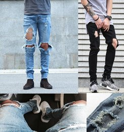 Wholesale Skinny Jeans Korean Style - 2016 New kpop skinny ripped korean hip hop fashion pants cool mens urban clothing jumpsuit men's jeans kanye west slp fear of god