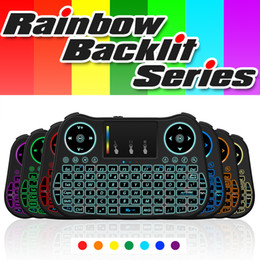 Wholesale Mini Keys Keyboard - Mini Wireless Keyboard 2.4GHz Rainbow backlit Air Mouse Keyboard with Touchpad 92 Keys Handheld Keyboards MT08 For Android Box Tablets PC