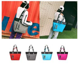 Wholesale Art Handbags - 4 Colors Pink handbag Duffel Bags Outdoor Canvas Storage Bag Lady Travel Bag Waterproof Vic Nylon Beach Shoulder Bags 20pcs MK21