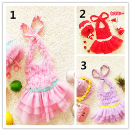Wholesale Babies Wear Wholesales China - Fashion Baby Swimwear Multi Color with Hats Beach Halter Summer Wears Cute Children Clothing 3 Color In Stock Made In China Low Price