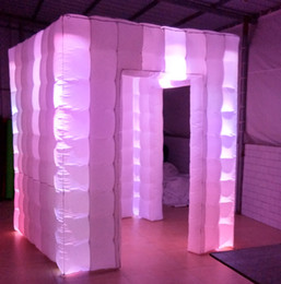 Wholesale Party Tents Ship Free - free shipping hot sale 16 changing colorful LED cube inflatable photo booth for decoration party with free air blower