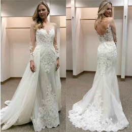 Wholesale Ivory Wedding Dresses Designer Plus - 2018 New Designer White Wedding Dresses With Detachable Train Illusion Long Sleeves Lace Appliques Backless Wedding Bridal Gowns