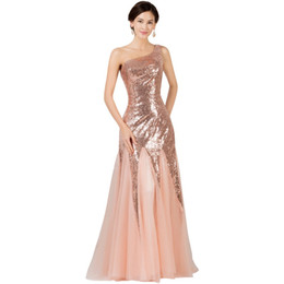 Wholesale Cheap Formal Maxi Dresses - Cheap Floor length formal evening dress gown 2018 new Elegant pink mermaid lace chiffon maxi long dress One-Shoulder prom party dress