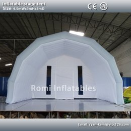 Wholesale Custom Tents - Wholesale-Custom 4.5mWx3mHx3mD light grey white inflatable stage tent oxford cloth tent inflatable canopy inflatable cover