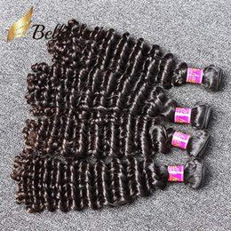 Wholesale Free Hair Color - 7A Grade 8-30inch Brazilian Virgin Hair Deep WaveHuman Hair Weaves Human Hair Weft Unprocessed Natural Color Free Shipping Bella HairBundle