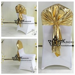 Wholesale Color Chair Cover - Gold Color Bronzing Coated Lycra Spandex Chair Hood \ Chair Cap For Wedding Chair Cover