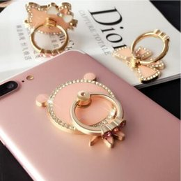 Wholesale apple fish - Universal 360 Degree Pink Flower Bowknot Cat Fish Heart Crystal Finger Ring Holder Phone Stand For Mobile Phones