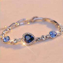 Wholesale European Blue Enamel Rhinestone - 2017 Hottest Womens Ladies Crystal Rhinestone Bangle Ocean Blue Bracelet Chain Heart Jewelry