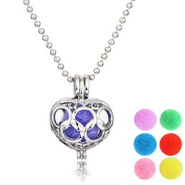 Wholesale Stainless Steel Necklace Charm Set - Fahsion Gift Hollow Out Heart Pendant young living necklace with Essential oil Dffuser with 5pcs set in high quality LN006