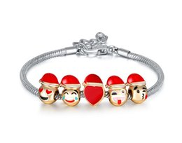 Wholesale Grade Wholesale Stainless Steel Jewelry - NEW Fashion Top Grade Emoji Charm Bracelet 5pcs Beads Gold Plated Men jewelry Bracelet for Women DIY Fit Bracelet Best Christmas Gift CC770