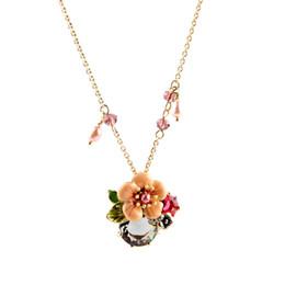 2020 einfache goldblumenanhänger Lange Kette Gold Farbe Sommer Sweet Design Geschenk für Freund einfache Kristall Blume Halskette Anhänger Weihnachtsgeschenk günstig einfache goldblumenanhänger