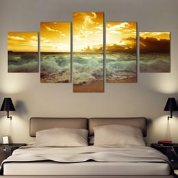 Mode Wall art Mer plein lever du soleil décoration de la maison abstraite grandes peintures sur toile 5 pcs / ensemble sans cadre ? partir de fabricateur
