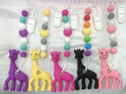 Wholesale Large Necklace Beads - bpa Silicone baby Teething pendant clips silicone Teething Pacifier Clip with large giraffe pendant heart chew beads Necklaces wholesale