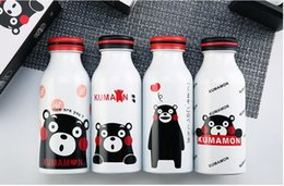 Wholesale Double Wall Plastic - Cola Shaped Insulated Double Wall Vacuum Water Bottle Mug 350ml 12oz Cute Kids Double layer Stainless Steel Cup Kumamoto Bear Printing