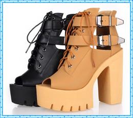 Wholesale Heels Peep Toe Buckle - Wholesale- buckle summer shoes fashion platform shoes woman high heels open toe sandals for women shoes 2016 ladies peep toe pumps C861
