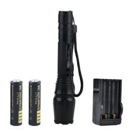Bateria lanterna alta lumens on-line-Livre DHL UPS de Alta Qualidade 2000 Lumens LED Lanternas XML T6 À Prova D 'Água Zoom Torch Com 2 pcs 18650 Carregador de Bateria