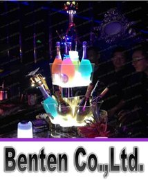 Wholesale Three Color Led - Plastic LED Ice Bucket Three Layer Champagne Holder Bar Club Wine Cooler Color Changing Whiskey Chiller For Party Resturant LLFA191