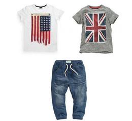 Wholesale Wholesale American Flag Shirts - Kids 3PCS Summer Boys clothing set Brithish American Flag baby clothes set 2 pieces of t-shirts+jeans 3 pcs kids suit