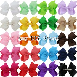 Wholesale Grosgrain Headbands - Free Shipping 40pcs lot 5.5'' Baby Girls Boutique Hair Bows With Alligator Clips Grosgrain Ribbon Hair Bows For Teens Babies HJ072+5.5CM