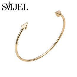 Wholesale Cuff Bracelet Spikes - Wholesale-Fashion Spike Bracelet Cuff in Silver Double Arrow Bracelets Bracelets Girl Jewelry G015