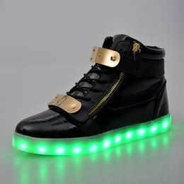Wholesale Usb Light Shoes - LED Luminous Women & Men high top Sneakers LED Shoes For Adults USB Charging flash Lights Shoes Black White Shoes