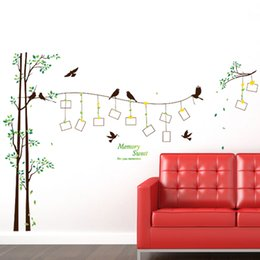 Wholesale Tree Life Decal - DIY Modern Photo Frame Birds Tree Wall Stickers Bedroom Living Room TV Backdrop Decoration PVC Wall Decor Waterproof Removable Wallpaper