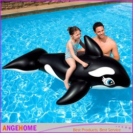 Wholesale Kids Boat Pvc - 193*119CM PVC Inflatable Black Whale Pool Float 2016 Summer Brand New Children Pool Toys Kids Water, Retail box packaging Toys INTEX58561