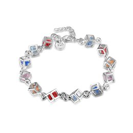 "Wholesale Crystal Factory Outlet - Factory Outlet Women's 925 Sterling Silver Colorful Crystal Bracelet 8"" Fashion Silver Bracelet"