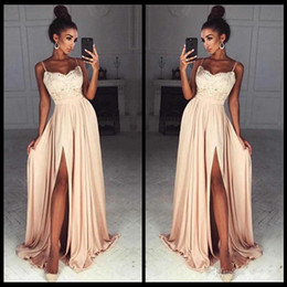 Wholesale Laced Nude Bridesmaid Dresses - Elegant Chiffon Prom Dresses Long Spaghetti Straps Lace Top Side Split Sexy Evening Party Dress Custom Made Cheap Bridesmaid Dress
