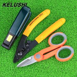 Wholesale Fiber Stripping Tool - Wholesale- KELUSHI Free Shipping fiber optic tool kits Pixian fiber stripping double hole miller pliers stripper Tool +Kevlar Scissors