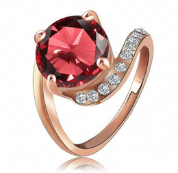 Wholesale Rose Gold Ruby - Personalited Red Ruby Ring Real 18K Rose Gold Plated Genuine SWA Element Austrian Crystal Girls Rings Ri-HQ1023-A