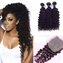 Wholesale Process Hair - 7A Peruvian Deep Wave Hair Bundles with Closure Free Middle 3 Part Double Weft Human Hair Extensions Dyeable Human Hair Weave
