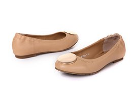 Wholesale gold ballet shoes - 2016 Gold Metal Buckle Sheepskin Geniune Leather Ballet Flats Casual Loafers Lady Women Shoes Sz 35-41