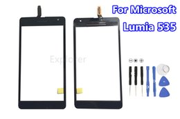 Wholesale Microsoft Parts - 1PCS Lot for Microsoft Nokia Lumia 535 N535 Touch Screen Digitizer Glass CT2S1973FPC-A1-E And CT2C1607FPC-A1-E Replacement Parts Free Tools