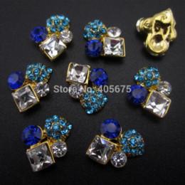 Wholesale Nail Clear Alloy Rhinestone - 50pcs Blue rhinestones alloy 3d nail art clear stone gold charms glitter decorations nail supplies YNS24C