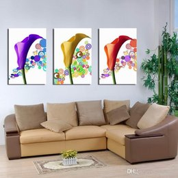 Wholesale Paintings Calla Lilies - Modern Common Callalily Calla Lily Floral Painting On Canvas Giclee Print Wall Decor Set30420