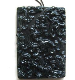 Wholesale Jade Good Luck Pendants - 2016 xinjiang black jade hand-carve Nine dragon jade pendant bring blessing and good luck fashion Jewelry black jade pendant