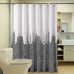 Wholesale Letters Shower Curtain - 2016 New Style Letter Polyester Fiber 180x180cm Bathroom Accessories Shower Curtain Waterproof Mildew Proof Bath Curtains