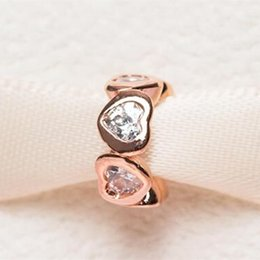 Wholesale Rose Gold Plated Spacer Beads - Rose Gold Plated Space in My Heart Spacer Charm Bead with Clear Cz Fits European Pandora Jewelry Bracelets Necklaces & Pendant