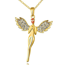 Wholesale Protection Crystal Necklace - Angel Necklace Jewelry Environmental Protection Fairy Austria crystal Pendant For Women Fashion Accessories Party Wedding Gift 3 styles