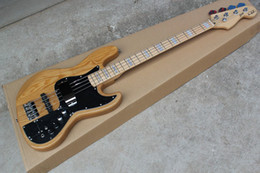 Wholesale Active Shops - wholesale Free shopping factory custom jazz bass natural wood Sunburst 4 strings electric guitar with 9 V Battery active pickups .