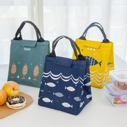 Wholesale Fabric Pattern Fish - Fish Pattern Waterproof Oxford Lunch Bag Food Insulated Large Capacity Bags Picnic Storage Lunch Box Bag Tote