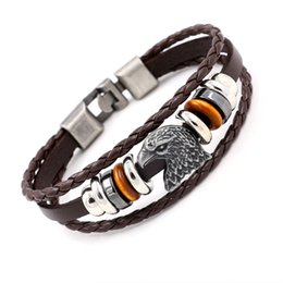 Wholesale Eagle Head Charms - Men's Fashion Jewelry Eagle Head Leather Bracelets Punk Wristlet Multilayer Charm Bracelet Bangle Circlet Boys Wristband Gifts