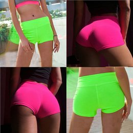Wholesale Waistband Sexy - Wholesale-New Summer Women Sports Shorts Gym Workout Waistband Skinny Yoga Short Bright Color Sexy Shorts