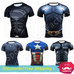Wholesale Browning Tshirt Xxl - Tights shirts 2017 Gym Fitness Compression Shirt Men Anime Superhero Punisher Skull Batman Superman 3D Shirt Body building Cross fit tshirt