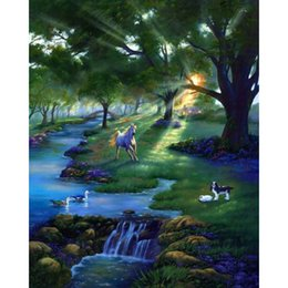 Wholesale Rivers Life - River Life Forest Sunlight Full Drill DIY Mosaic Needlework Diamond Painting Embroidery Cross Stitch Craft Kit Wall Home Hanging Decor