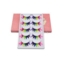 Wholesale Feathered False Eyelashes - Wholesale-5 Pairs Women Lady Fancy Colorful Feather Fake Eyelashes Party Soft False Eye Lashes Makeup Tools