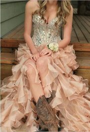Wholesale Classic Western Dress - Sexy Country High Low Prom Dresses Corset Bodice Sweetheart Sparkly Crystal Rhinestone Ruffles Western Party Dress Evening Wear Gowns