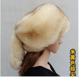 Wholesale Blue Fur Tail - Wholesale-new winter warm fur hats soft faux fur flat top hats tails fur hats one size multi color faux fur hats